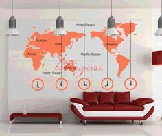 I would love this, with working clocks! Removable world map vinyl wall art. $38 at Etsy!