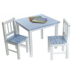 For hours of playtime enjoyment give your child his own special table and chair. Sized for a childs world the Table and Chairs are constructed of quality hard wood assembled with wood screws safely embedded and painted with bright white legs and pastel blue seat and tabletop. Your child will spend happy years reading drawing and playing on this sturdy and cheery nursery addition. The scratch-resistant surfaces are easily cleaned with gentle soap