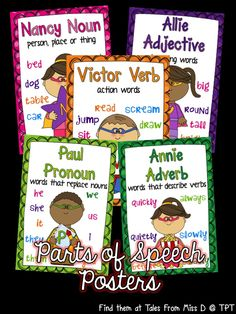 Teach your students about the 9 parts of speech with this bright and colourful poster set! Simply print, laminate and hang!