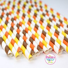 FALL MIX Paper Straws (30 Count) - Fall, Halloween, Wedding, Birthday, Baby Shower, Bridal Shower, Cake Pops