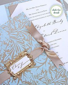 Blue and gold invites