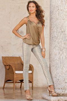 Charm drape top & Textured animal jean! #bostonproper