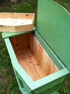 Vintage repurposed console stereo to cedar chest. I like for blanket storage but not green.