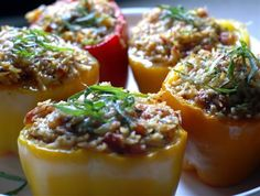 Orzo Pasta and Courgette Stuffed Peppers. More