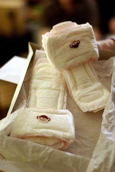 great gag gift. maxi pad slippers. White elephant gift idea! Haha!
