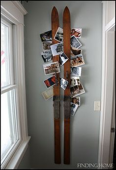 The Wicker House: Decorating with Vintage Skis hang xmas cards