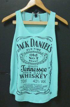 Teal blue-green Jack Daniel's whiskey Tank top