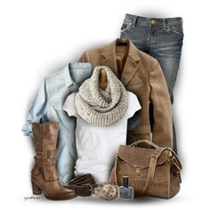 jean, fashion, cloth, infinity scarfs, denim shirts, fall outfits, work outfits, brown boots, fall styles