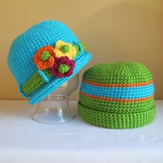 etsy crochet  hats with brims | CROCHET PATTERN - His & Hers - A rolled brim hat with flowers and ...