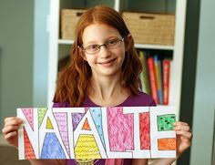 doodle names drawing activity for kids.  This would be a great craft to put on the doors to their rooms