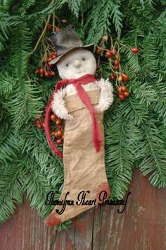 patterns, homespun heart, snowman decor, prim orni, christma sparkl, primit snowman, primitive, primit christma, christma orni