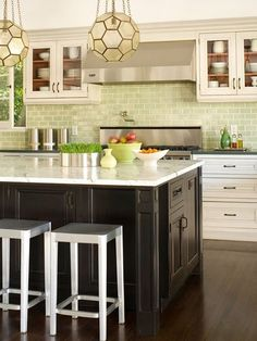 No More White! 10 Colorful Subway Tile Backsplashes - Pinned because I like the contrast of dark and light woods.