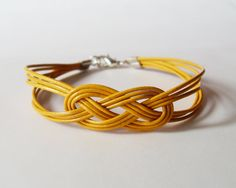 My DIY: Orange Yellow Leather Strap Bracelet with Sailor Knot by starryday