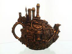 techno steampunk teapot sculpture. $130.00, via Etsy.