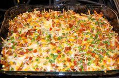 Loaded Baked Potato & Chicken Casserole load bake, baked potatoes, chicken breasts, chicken casserole, olive oils, bake potato, recip, green onions, hot sauces
