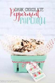dark chocolate peppermint popcorn basket