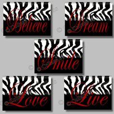 wall decor, dreams, quote art, prints, zebra print, dream live, zebras, inspir smile, girl rooms