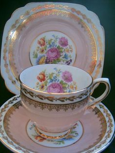 Clare China tea trio -cup saucer plate set