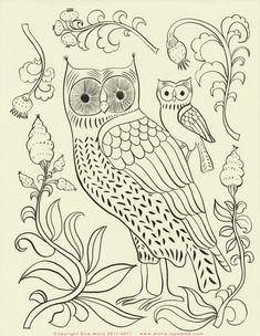 elsa mora, idea, craft, embroidery patterns, embroideri pattern, free embroideri, baby owls, stitch, hoot