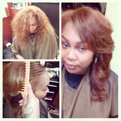 Our hand tied natural curly #indianremy with a custom honey blonde and perfectttt install by @sewbeautyful2 ..using NOOO BLEACH!!! #teamwags #wagmanhair #njstylist -- remember our sale is going on NOW! Www.wagmanhair.com