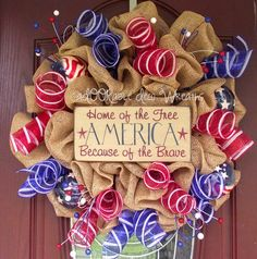 America Wreath by aDOORableDecoWreaths on Etsy