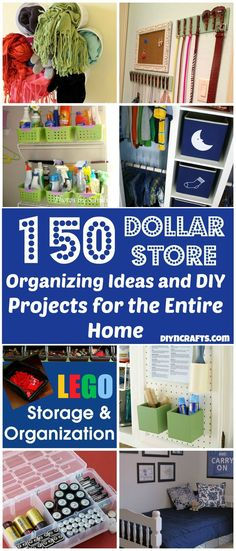 150 ways to organize your entire home and life with dollar store items! So many remarkable ways to organize. large and small. apartment or big house. good and affordable solutions/ideas!