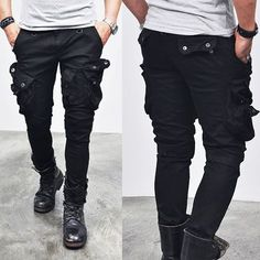 Wax Coated Oil Cargo Skinny Jeans-Jeans 92