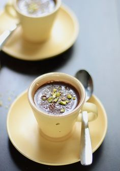 Chocolate & bourbon pudding with sea salt and crushed pistachio x