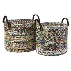 Baskets made of recycled magazine paper.