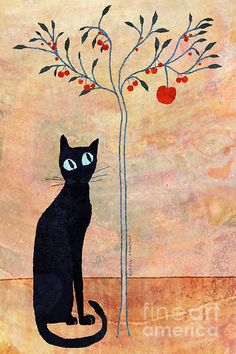 Cat And The Cherry Tree by Justin Fagence