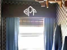 How to Create a Stenciled Monogram Valance  http://www.hgtv.com/handmade/how-to-create-a-stenciled-monogram-valance/index.html?soc=pinterest
