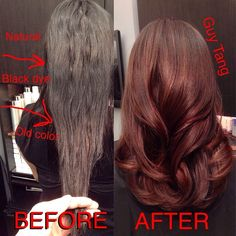 Guy Tang used Kenra Color Pre Pigments Copper and Red after lightening/color correcting to fill her hair, then 7B Demi - Color correction from black box hair color. hair colors, color correction hair, gorgeous color