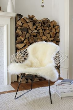 I love the chair, sheepskin and color scheme.