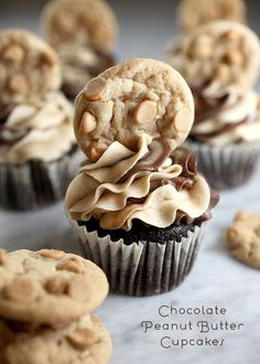 Chocolate Peanut Butter Cupcakes ~ http://www.bakerella.com/chocolate-peanut-butter-cupcakes/