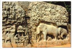 Monuments at Mahabalipuram - India.  This group of sanctuaries, founded by the Pallava kings, was carved out of rock along the Coromandel coast in the 7th and 8th centuries. It is known especially for its rathas (temples in the form of chariots), mandapas (cave sanctuaries), giant open-air reliefs such as the famous 'Descent of the Ganges', and the temple of Rivage, with thousands of sculptures to the glory of Shiva.