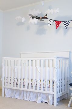 Project Nursery - White Vintage Boy Airplane Nursery Crib