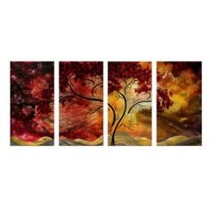 Amazon.com: Passionate Light Metal Wall Art - Set of 4 - 51W x 23.5H in.: Home & Kitchen