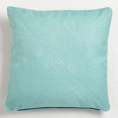 Blue Surf Cotton Herringbone Throw Pillow   World Market