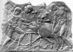 Clay relief plaque. Berlin Antikensammlung.In mythology the son of Ares and Althaea. He leads the team of heroes against the Calydonian Boar, and kills it. He awards the spoils to Atalanta, to the annoyance of his uncles. They persuade Althaea to destroy the firebrand on which his life depended. He appears in art mainly in the Boar hunt, and with Atalanta, or dying.