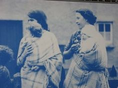 Welsh mothers carrying their babies the traditional way in nursing shawls (Welsh history)