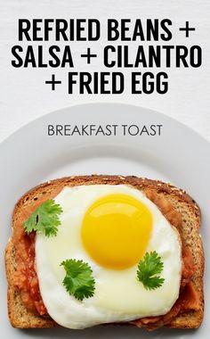 Refried Beans + Salsa + Cilantro + Fried Egg