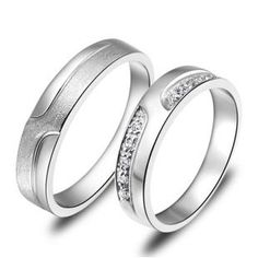 Custom Engraved sterling silver couple engagement rings set - $45
