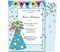 Kids Party : PartyHat Kids Birthday Party Invitation Template