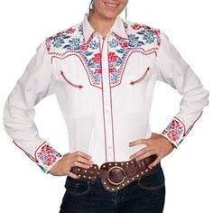 Scully Women's Floral Embroidered Long Sleeve Western Shirt