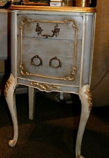 French Table: In Paris Grey and Old White. done with Chalk Paint® decorative paint by Annie Sloan. Artist: Robyn Story Designs and Boutique