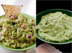 Middle Eastern Avocado Puree (on the right).  Recipe by Martha Rose Shulman, photograph by Andrew Scrivani