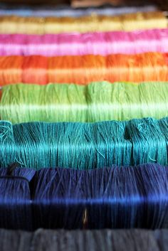Tanis Fiber Arts Silver Label silk, drying after their dye bath.