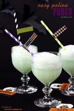 easy Halloween potion punch | TheCelebrationShoppe.com #Halloween #punchrecipe #potion #halloweendrink halloween parties, punch drinks, easi halloween, food, halloween potions, halloween treats, lime sherbet, kid parties, potion punch