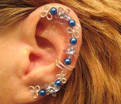 Non Pierced Blue Celtic Star Ear Cuff 1 Cuff