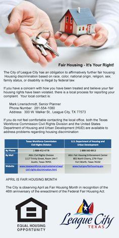 April is Fair Housing Month in League City!